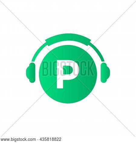 Headphone Template On P Letter. Letter P Music Logo Design. Dj Music And Podcast Logo Design Headpho
