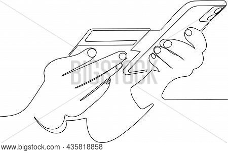 Close Up Female Hands Holding Credit Card And Smartphone Young Woman Paying Online, Using Banking Se