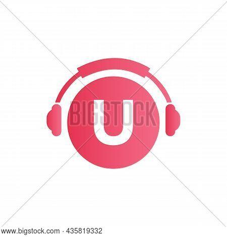 Headphone Template On U Letter. Letter U Music Logo Design. Dj Music And Podcast Logo Design Headpho