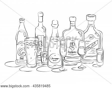 Bottle And Glass Beer Vodka Champagne Liquor Rum Together In Hand Drawn Style. Beverage Outline Icon