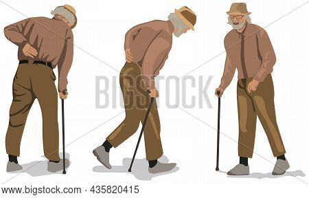 Grandfather With Walking Stick - Set Of Three Illustrations Isolated On White Background, Vector