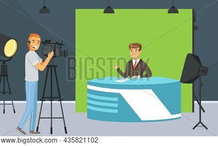 Man Tv Reporter At Desk In Studio Announcing The News Vector Illustration