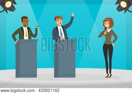 Woman Tv Reporter Speaking Into Microphone At Show Programme On Television Vector Illustration