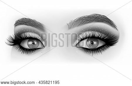 Closeup Macro Of Woman Face With Eyes Make-up - Detailed Illustration In Grayscale On White Backgrou