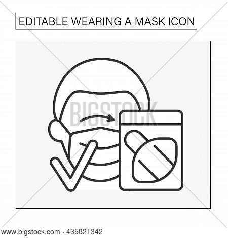 Face Mask Line Icon. Mask Wearing Rules. Unusable Mask In Packing. Healthcare Concept. Isolated Vect