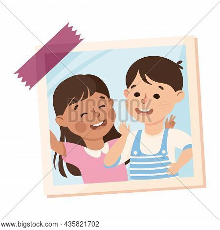 Happy Boy And Girl On Photo Card Or Snapshot Sticking On The Wall Vector Illustration
