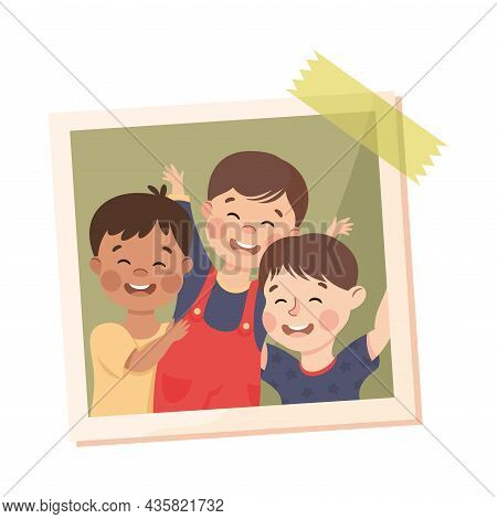 Happy Little Boy On Photo Card Or Snapshot Sticking On The Wall Vector Illustration