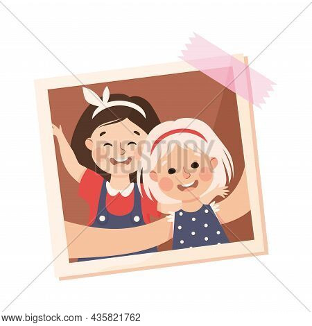 Happy Girl On Photo Card Or Snapshot Sticking On The Wall Vector Illustration