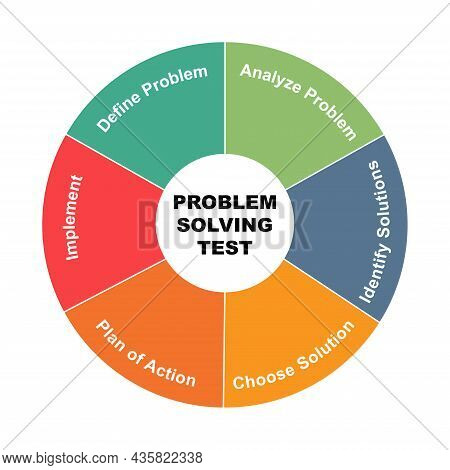 Diagram Concept With Problem Solving Test Text And Keywords. Eps 10 Isolated On White Background