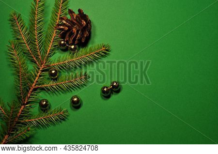 Christmas Background. Christmas, The Year Of The Tiger. Pine Branch, Cones Of A Christmas Tree And G