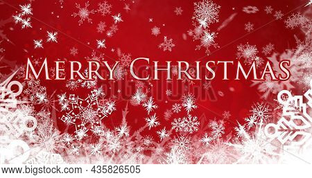 Image of snow falling over merry christmas text on red background. christmas, tradition and celebration concept digitally generated image.