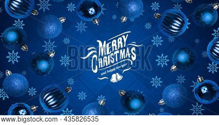 Image of snowflakes and baubles over merry christmas text and happy new year on blue background. christmas, tradition and celebration concept digitally generated image.