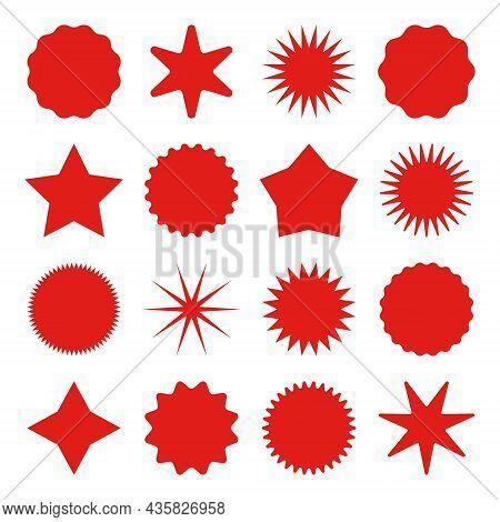 Retro Stars, Sunburst Symbols. Vintage Sunbeam Icons. Red Shopping Labels, Sale Or Discount Sticker,
