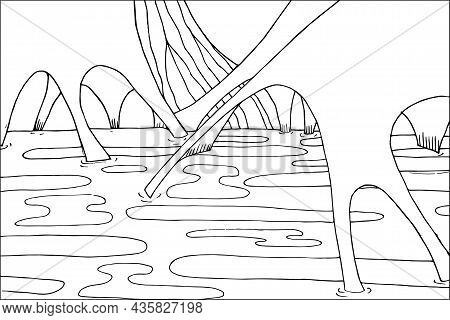 Doodle Alien Fantasy Crater Landscape Coloring Page For Adults. Fantastic Graphic Artwork. Hand Draw