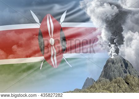 Conical Volcano Blast Eruption At Day Time With White Smoke On Kenya Flag Background, Suffer From Na