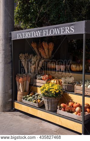 Autumn Everyday Flowers Stand With Variety Of Pumpkins, Chrysanthemums, Calluna Vulgaris, Bouquets O