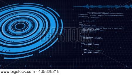 Image of data processing on screens and scope scanning over black background. global connections, digital interface and data processing concept digitally generated vide