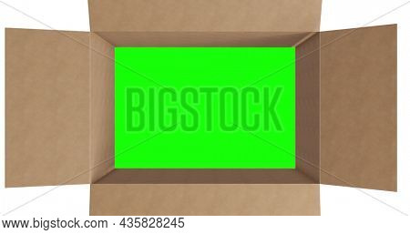 Overhead of green screen in brown cardboard box with lid closing on white background. packing box in preparation for shipment or transportation.