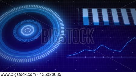Image of scope scanning and data processing over grid. digital interface, global data processing and technology concept digitally generated image.