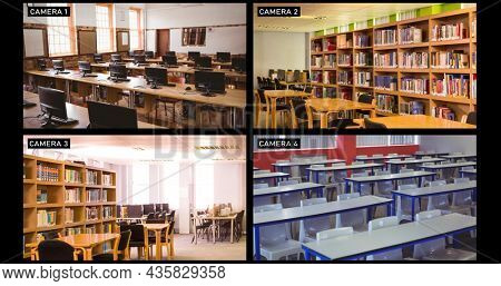 Composite of views from four security cameras in different areas at a school. surveillance, education security and safety technology concept, digital composite image.