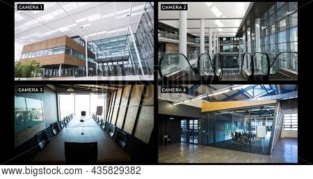 Composite of views from four security cameras showing lobby and rooms at business offices. surveillance and business security technology concept, digital composite image.