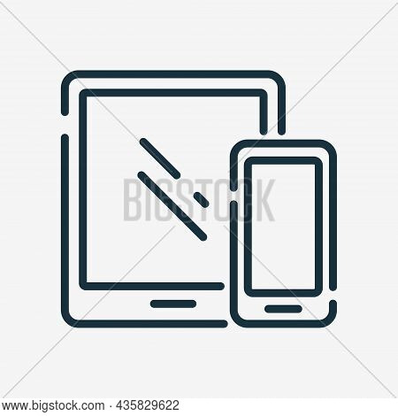 Tablet And Mobile Phone Line Icon. Connected Or Sync Of Devices Linear Pictogram. Synchronization Di