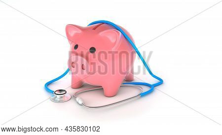 Piggy Bank And Stethoscope Isolated On White. Savings Concept For Treatment. 3d Render