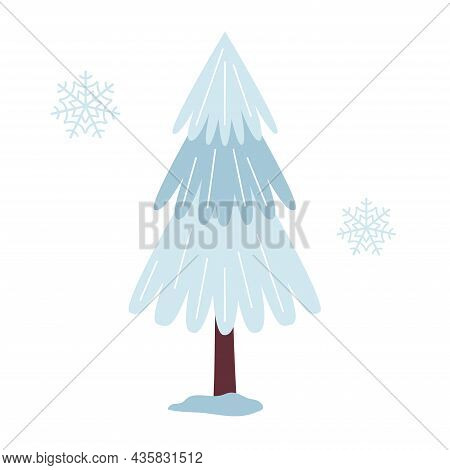 Blue Fir Tree Cartoon, Standing In The Snow, Winter Park. Christmas Tree. For New Year Winter Design