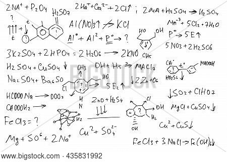 Chemical Formulas. Handwritten On A White Background.