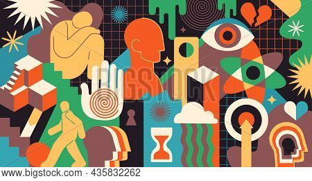 Bright Psychedelic Composition. Vivid Images, Abstract Patterns. Picture For Printing On Fabric. Hum