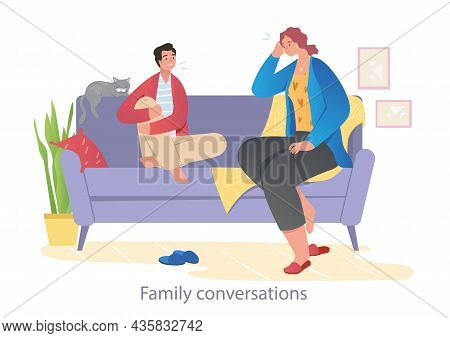 Husband And Wife Talking On Couch. Girl And Guy Discussing Family Problems, Communication Of Couple,