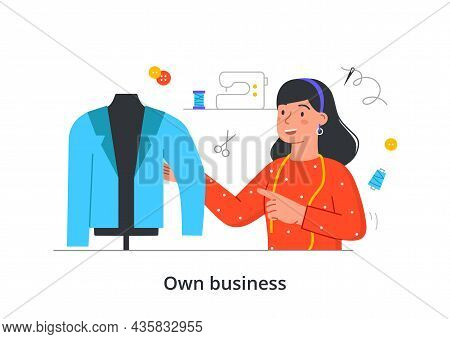 Girl Opened Clothing Store. Your Own Business. Saleswoman Evaluates Quality Of Fabric, Jacket. Fashi