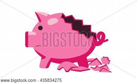 Broken Piggy Bank On White Background Money Saving And Bank Business Graphic Design Economic Repair
