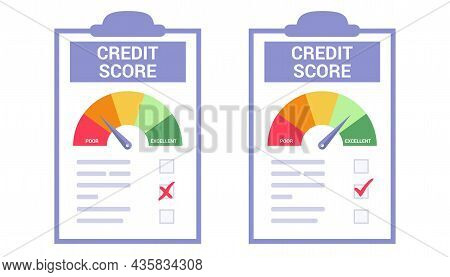 Credit Score Or Rating Concept In Flat Vector Illustration Rejected And Approved Credit Score Gauge