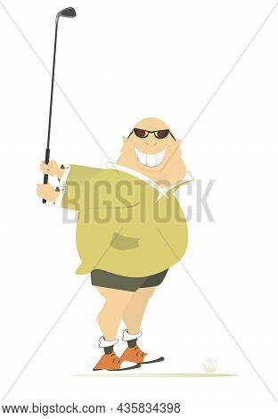 Smiling Fat Golfer Man On The Golf Course Illustration.  Cartoon Smiling Fat Bald-headed Man In Sung