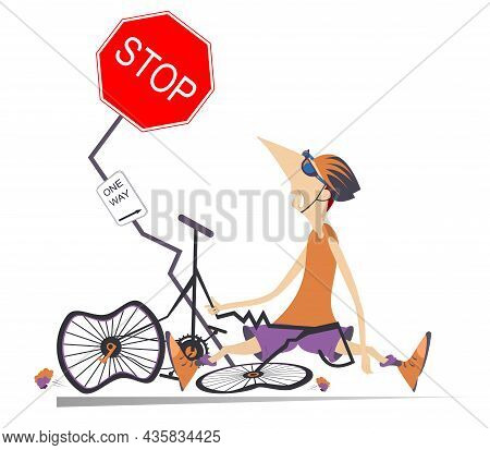 Sad Cyclist Man Smashed Into A Road Sign Illustration.  Cyclist Man In Helmet And Sunglasses Sitting