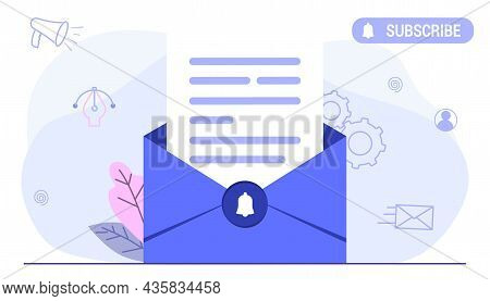 Subscribe Now Our Newsletter Vector Illustration With Tiny People Working Envelope Email Subscribe C