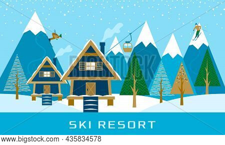 Ski Resort, Aerial Lift With People Rolling From The Mountains, A Wooden Cottage On The Background O