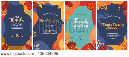 Thanksgiving Greeting Cards, Invitations. Vector Illustration. Hand Drawn Thanksgiving Typography Po