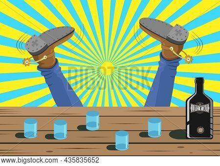 Falling Drunken Cowboy At The Old Bar