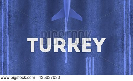 Commercial Airplane Landing At The Airport Of Turkey. Aerial View Of A Landing Airplane On The Airfi