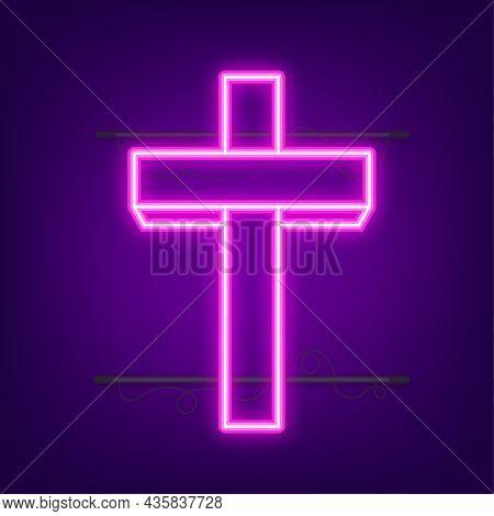 Cross Wood Neon Icon. Religion Icon. Vector Stock Illustration.