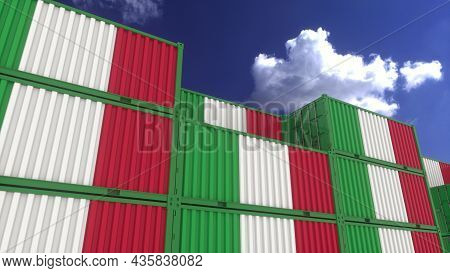 Italy Flag Containers Are Located At The Container Terminal. Italy Export Or Import Concept, 3d Rend