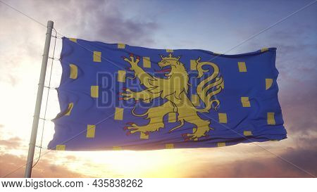 Franche-comte Flag, France, Waving In The Wind, Sky And Sun Background. 3d Rendering