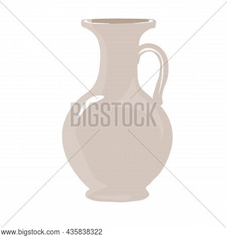 Ceramic Vase Vector Stock Illustration. Greek Ancient Jug. Tableware For Flowers. An Interior Item.