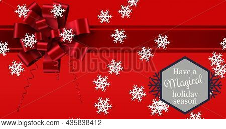 Image of merry christmas text over red present. christmas, winter, tradition and celebration concept digitally generated image.