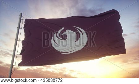 Phoenix City Flag, Arizona, Waving In The Wind, Sky And Sun Background. 3d Rendering