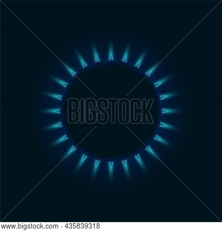 Gas Burner Blue Flame. Glowing Fire Ring On Kitchen Stove Top View. Burning Natural Propane Butane V