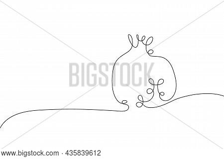 Continuous One Line Drawing Pomegranate. Farmer Market Logo Concept. Abstract Hand Drawn Fruit By On