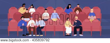 People Sitting In Red Seats At Movie Theater Or Cinema Auditorium And Watching A Movie.